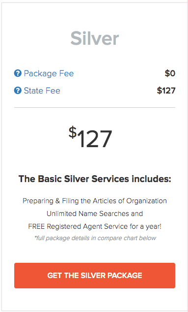 IncFile's Silver Package for LLC formation
