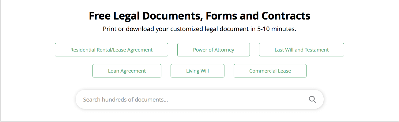 LawDepot Landing Page