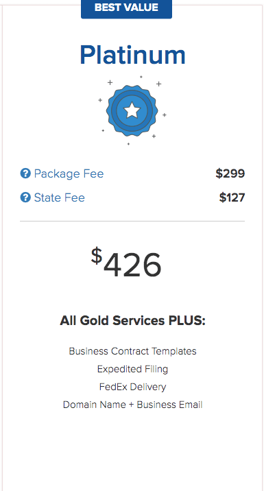 IncFile's LLC formation Platinum Package